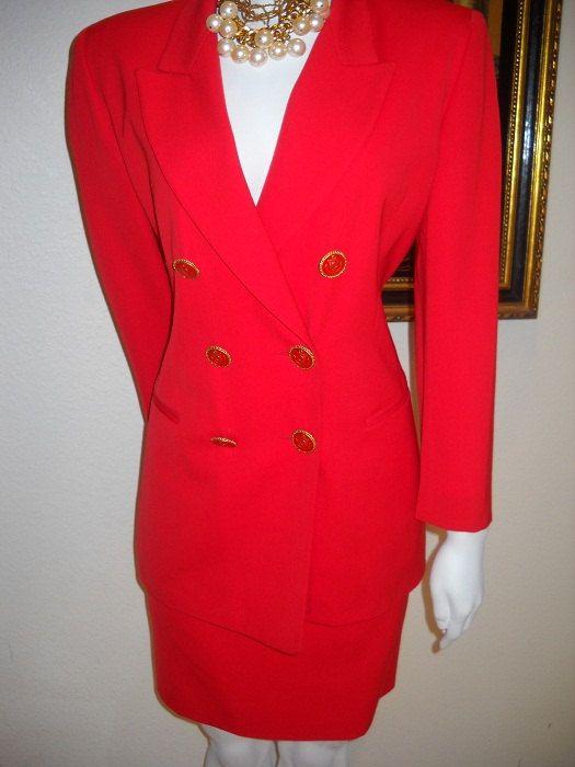 suit vintage wool red