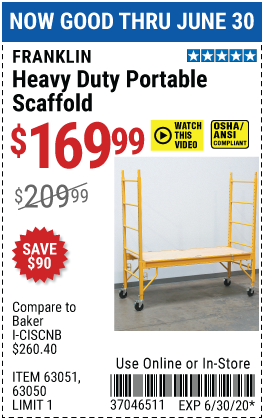 Franklin Heavy Duty Portable Scaffold For 169 99 In 2020 Harbor Freight Tools Heavy Duty Scaffolding