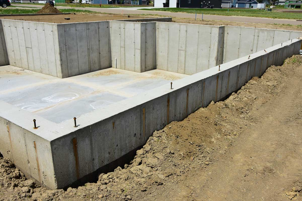 Concrete Basement Foundation Poured And Ready For Lumber In 2020 Building A Basement Concrete Foundation Cost Basement Construction