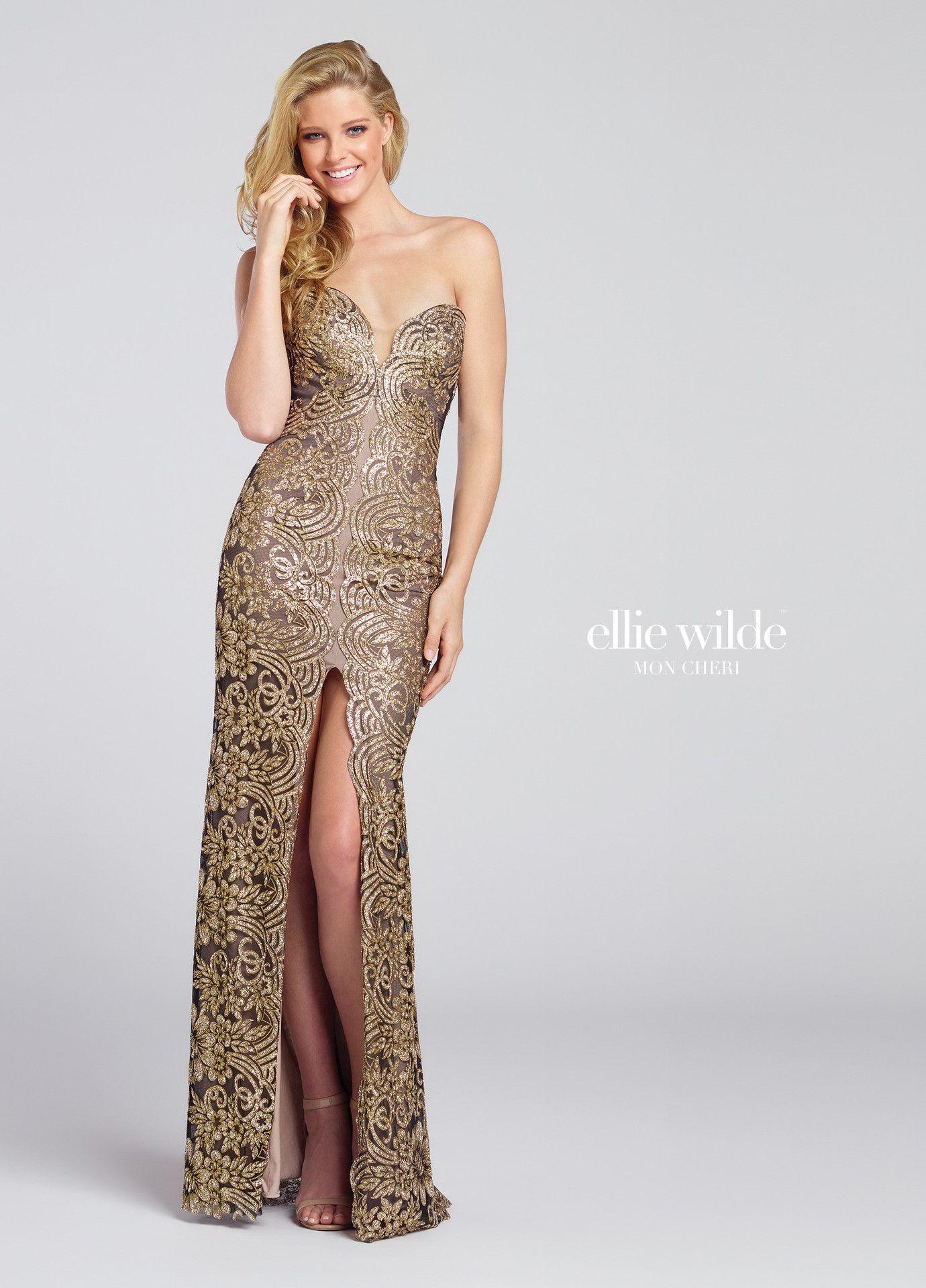Ellie wilde black gold embellished sweetheart prom dress