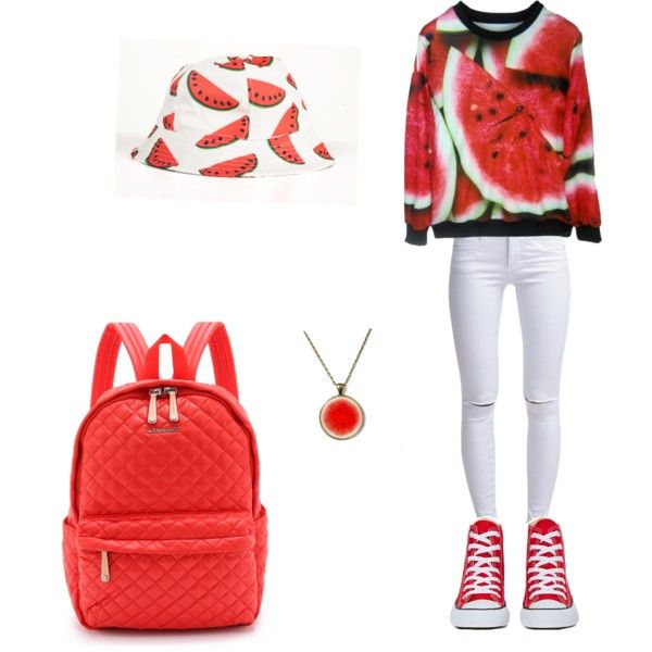 Watermelon???? by og-flygirl-z on Polyvore featuring polyvore, fashion, style, ONLY, Converse and M Z Wallace