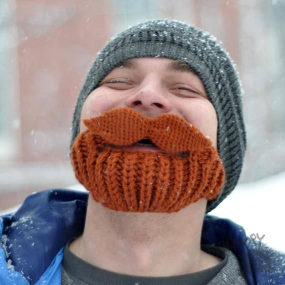 Crochet Beard Hat with Mustache Knit Hat Knitted Winter Sky Outdoor Hat and Face Warmer with moustac #crochetedbeards