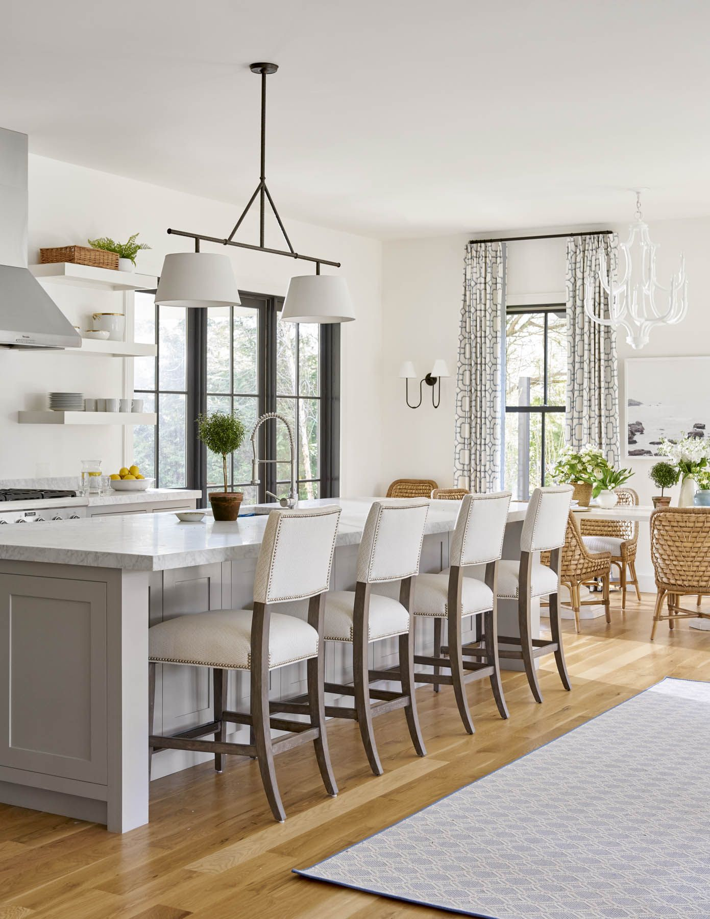 Transitional Kitchen White Kitchen Upholstered Counterstools Grey Kitchen Island Wicker Dining Chair Kitchen Design Grey Kitchen Island Kitchen Remodel