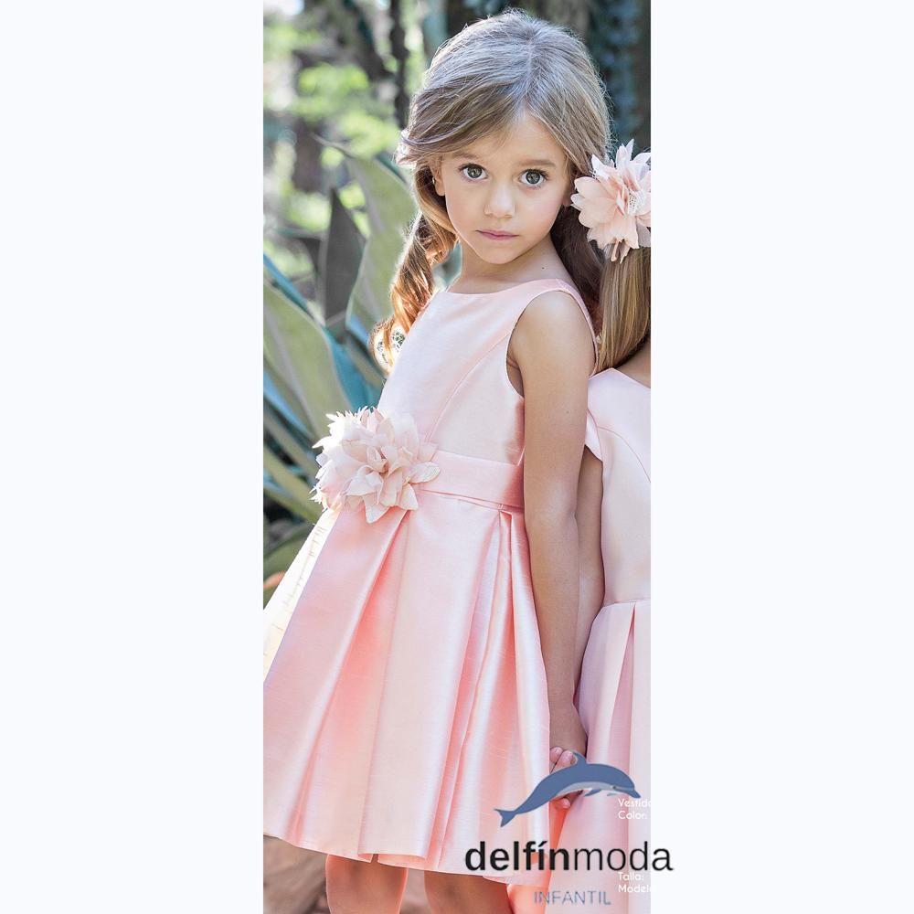 8f960a553 Vestido de niña ceremonia AMAYA 2018 seda modelo 111438