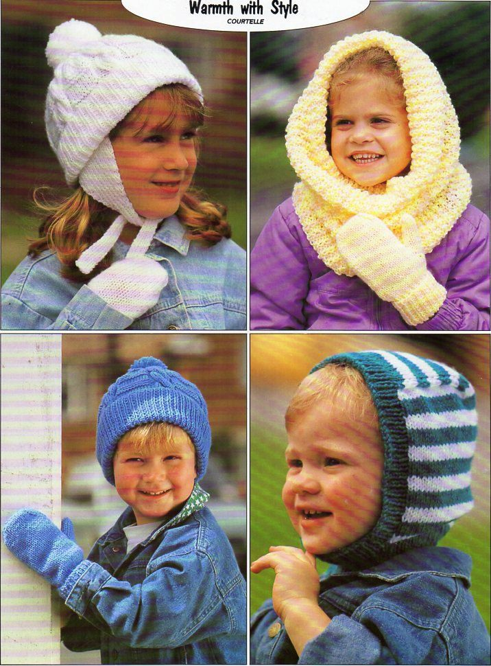 Vintage childs / childrens hats mitts knitting pattern pdf DK snood ...
