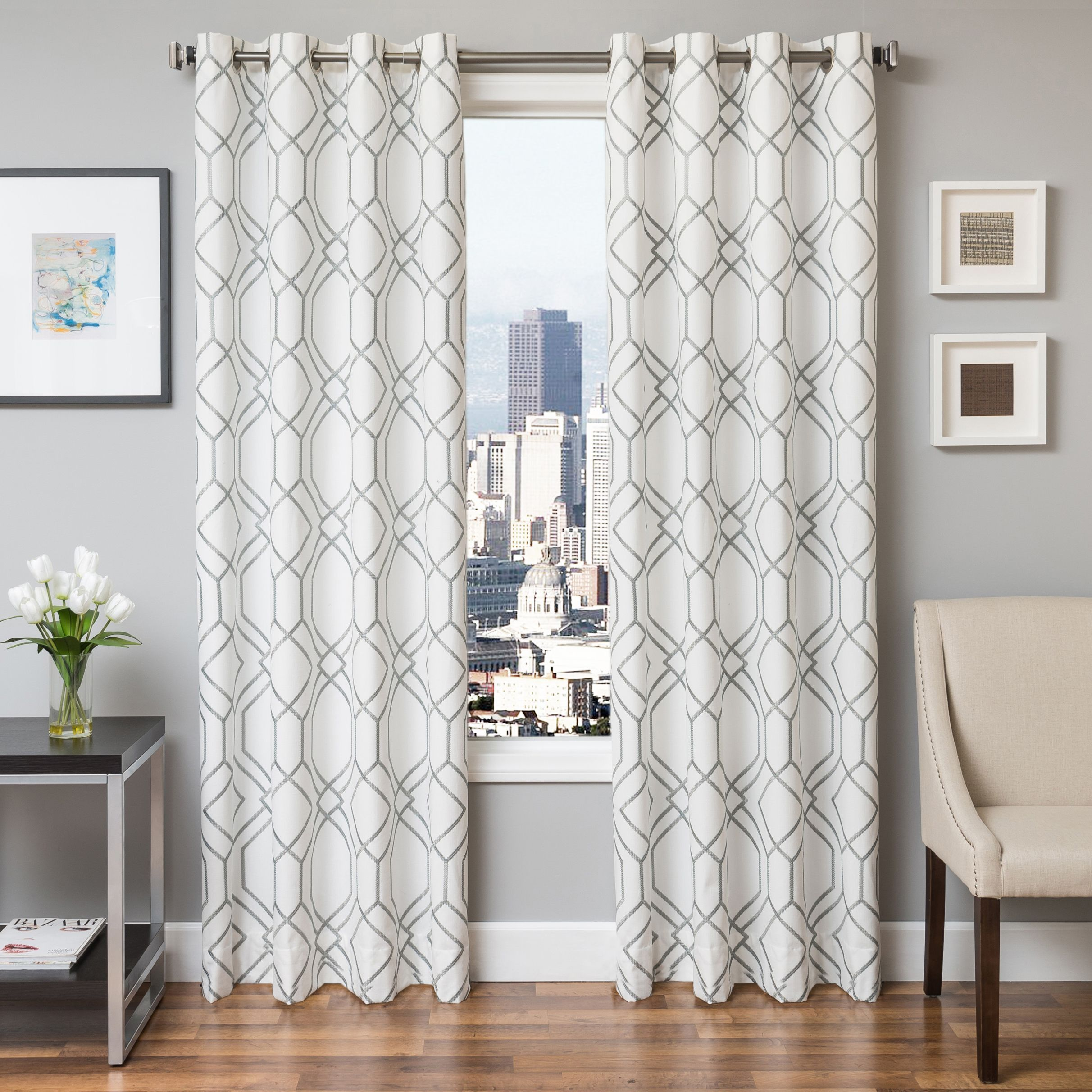 Softline Sawyer Grommet Top Curtain Panel (96 Silver), Size 55 x 96 ...