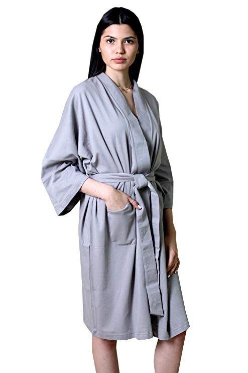 7f12a34da7 Viverano 100% Organic Cotton Women s Spa Bath Robe - Lightweight Super Soft  Non-Toxic Eco-Friendly (6 Colors) at Amazon Women s Clothing store