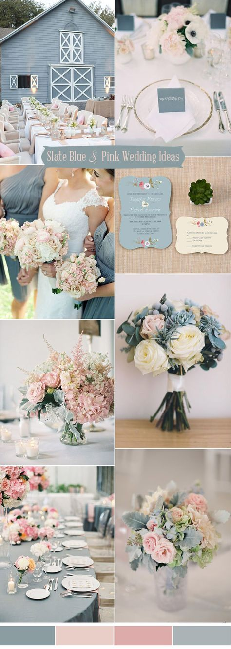 slate blue and blush pink wedding colors ideas