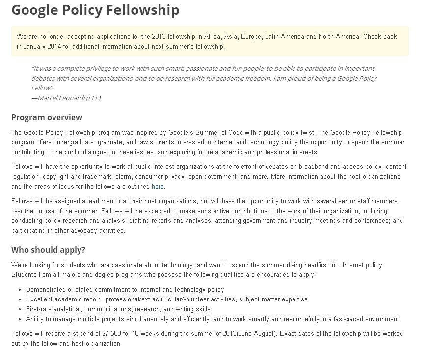 Google Policy Fellowship Offers Undergraduate Graduate And Law