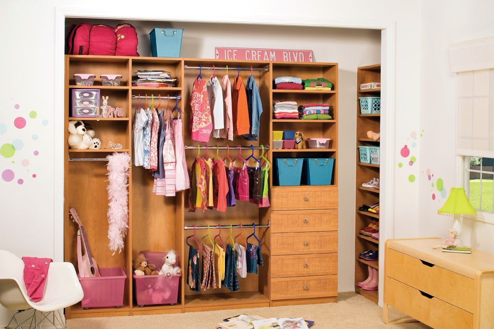 Childrenu0027s Closet Organizer System In Caramel Apple Laminate: From Infant,  To Toddler To Teen