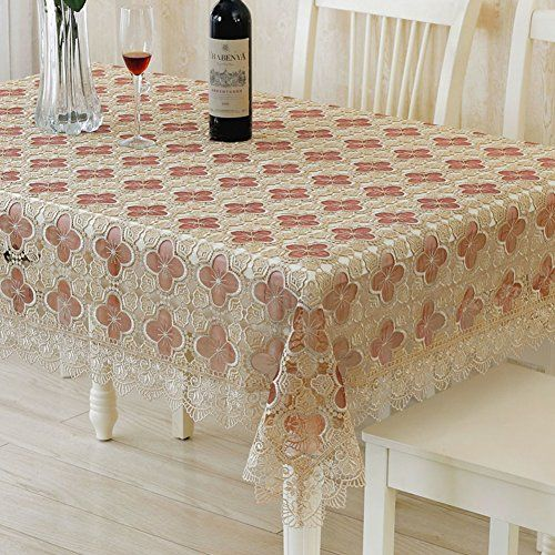 Lace Fabric Glass Yarn Water Soluble Table Cloth Wine Red