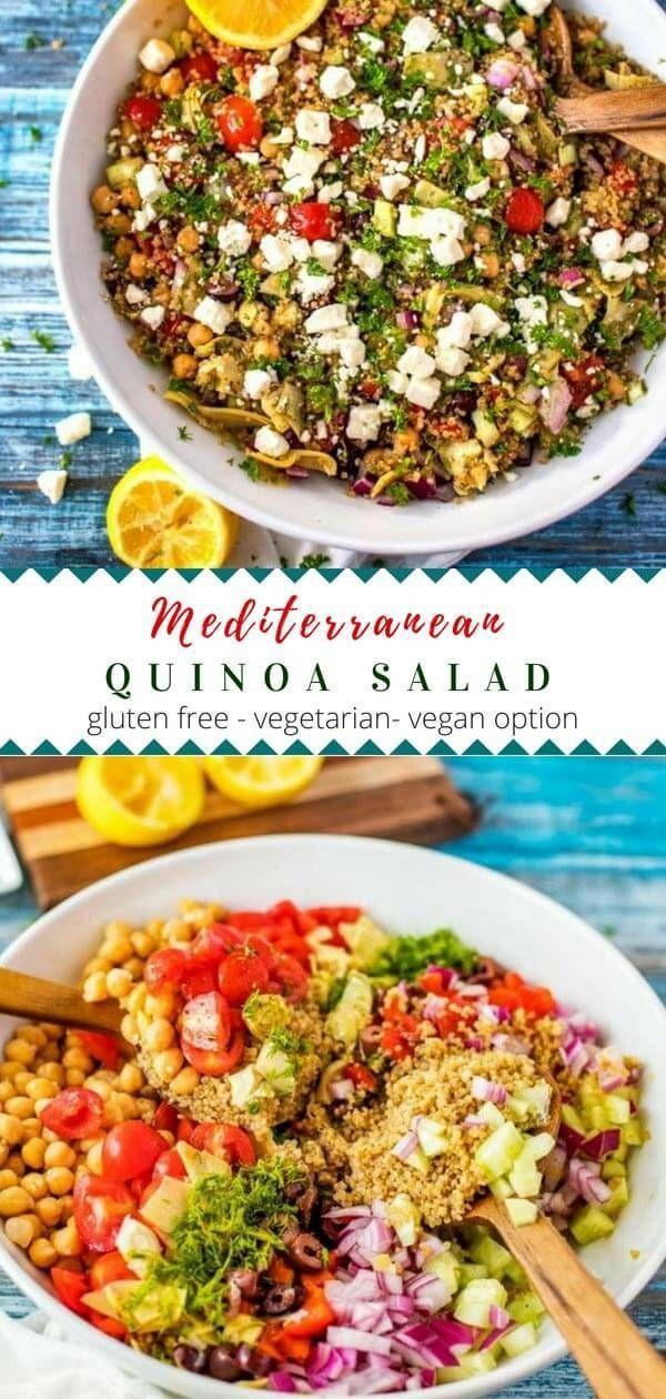 Mediterranean Quinoa Salad Recipe Vegetarian Recipes Uk Good Healthy Recipes Clean Eating Vegetarian