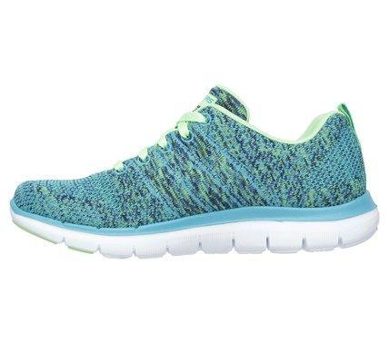 Skechers Women's Flex Appeal 2.0 High Energy Memory Foam Running Shoes (Blue /Lime)