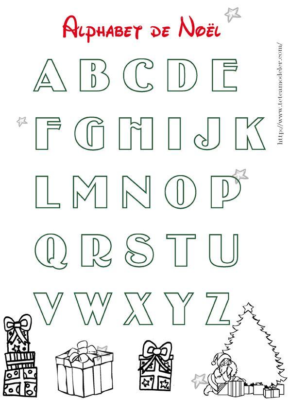 Alphabet de no l colorier grosses lettres colorier 2 cartes pinterest alphabet - Dessiner l alphabet ...