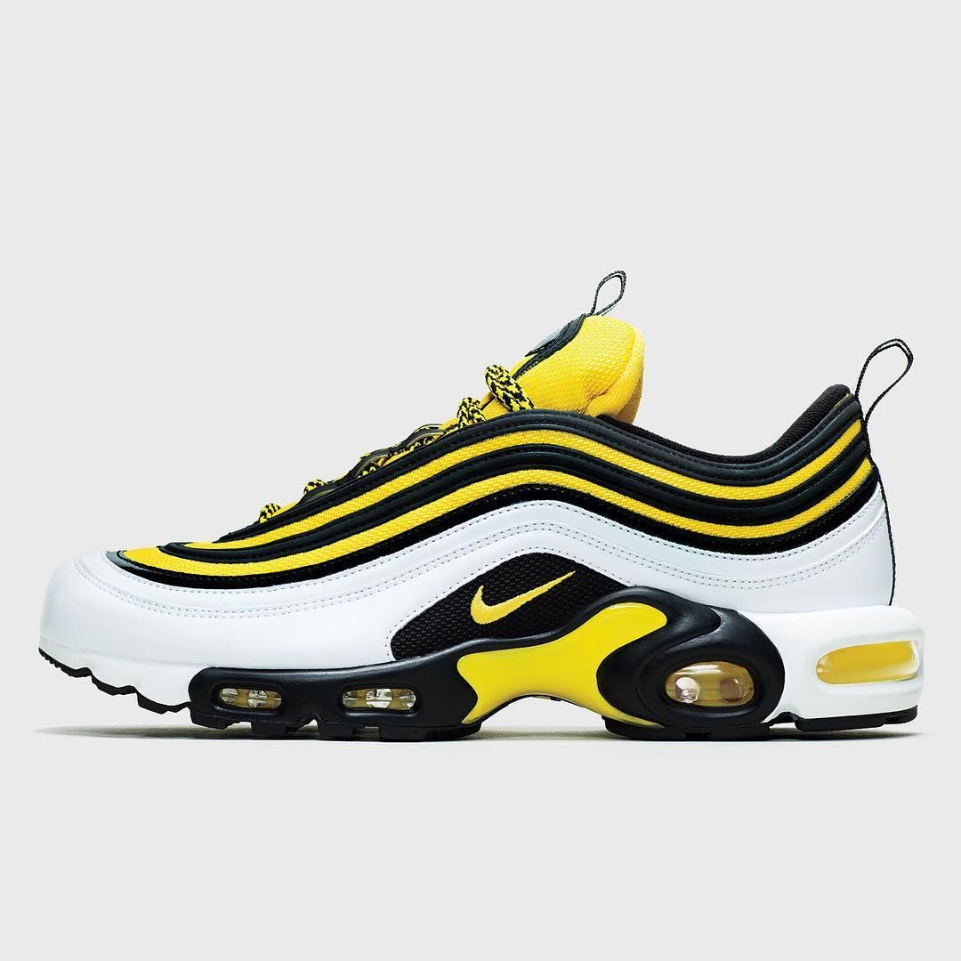 0c6121fff0a4 Nike is releasing more 90s-themed Air Maxes this week exclusively at Foot  Locker. This Air Max Plus 97 is one of three yellow black styles…