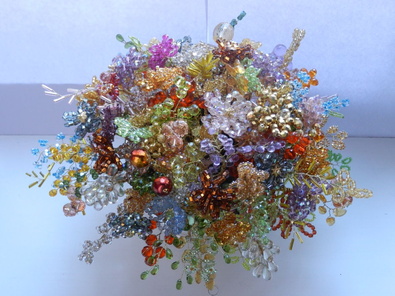 a bouquet of beaded flowers