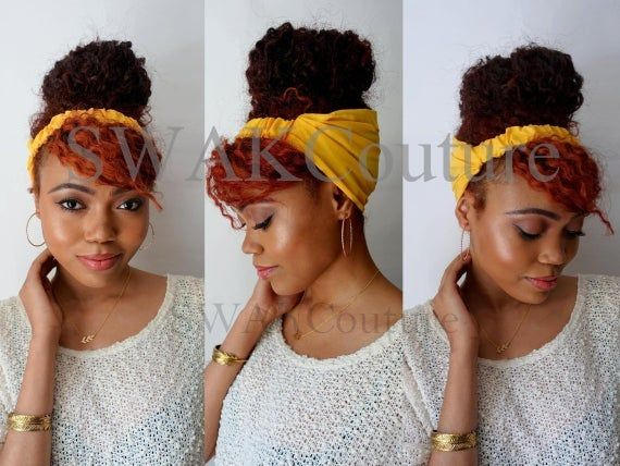 Satin Lined Headband Wrap, Wide Headband, Pineapple Bun Wrap, Ankara African Turban Wrap - Serengeti or Choose Color