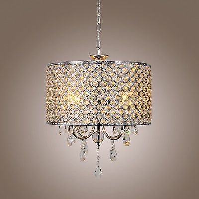 Modern Crystal Ceiling Lighting Chandelier 4 Light Lamp Pendant Fixture Clear