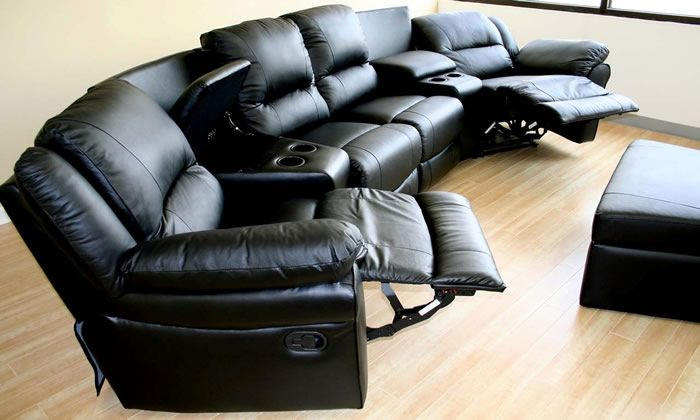 Modern Black Leather Reclining Sectional Sofa
