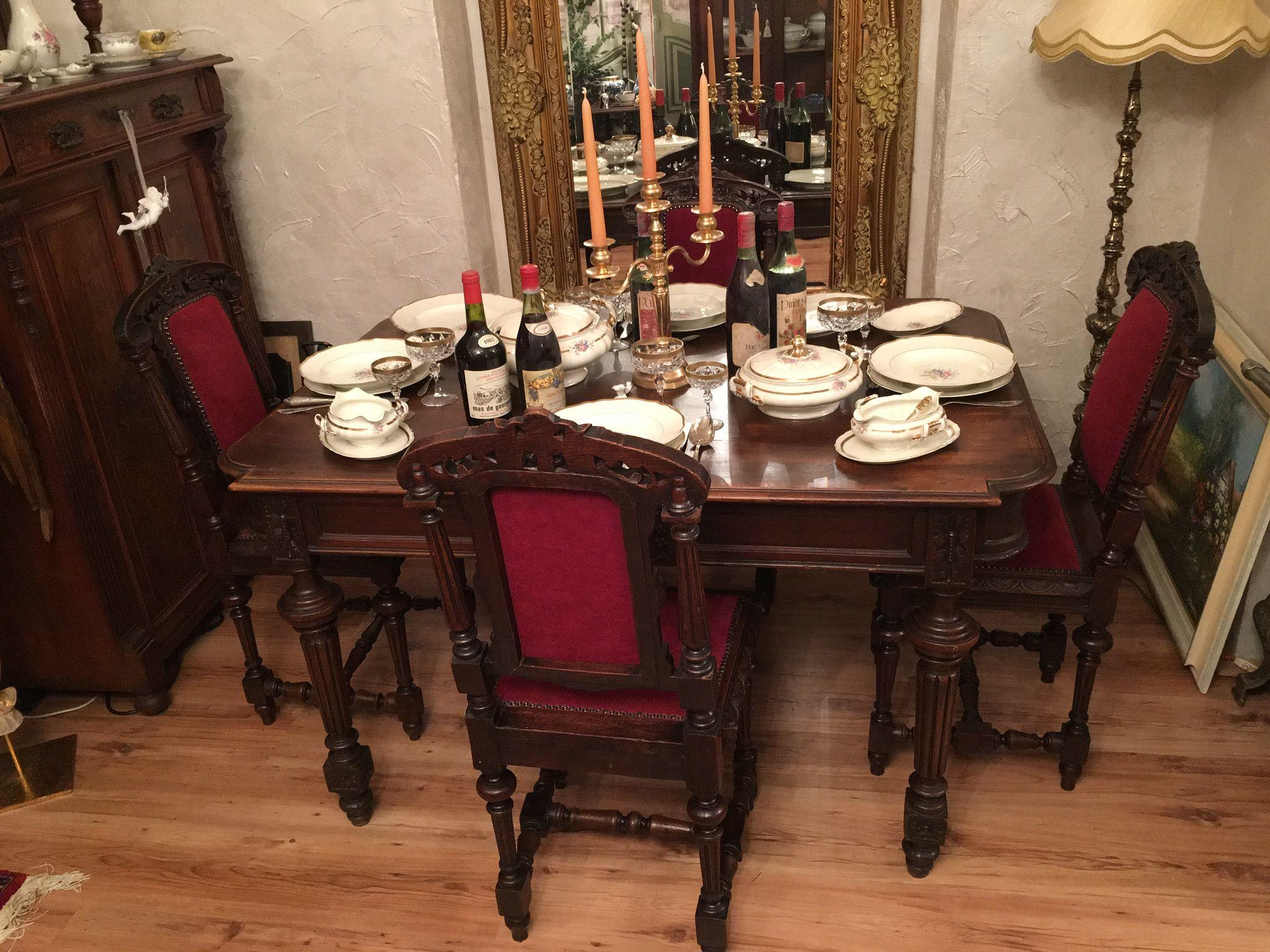 Antiker Esstisch 4 Stühle Mahagoni Jahr 1870 Antike Historische