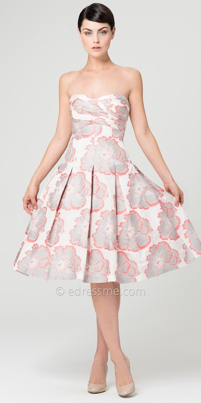 Pleated Carnation Cocktail Dresses by Aidan Mattox-image