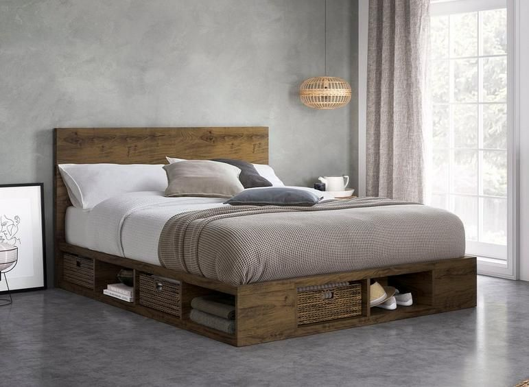 Wilkes Wooden Storage Bed Frame With Images Bed Frame With