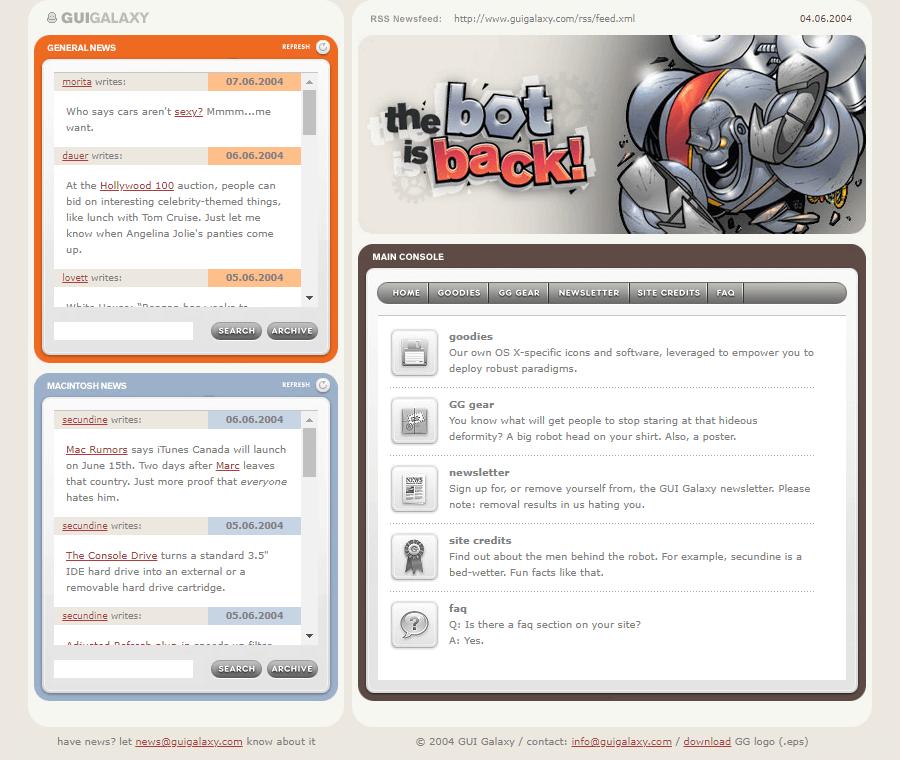 Gui Galaxy Website In 2004 Web Design Galaxy Design Museum