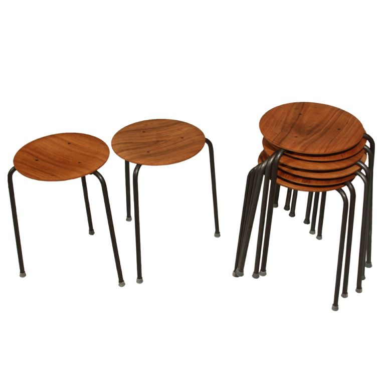 Rare Large Set Of Eight Stacking Dot Stools By Arne Jacobson For Fritz  Hansen