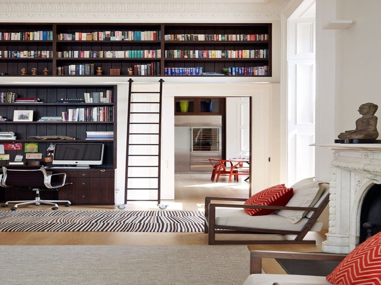 Bookcase With Sliding Ladder High Bookshelves