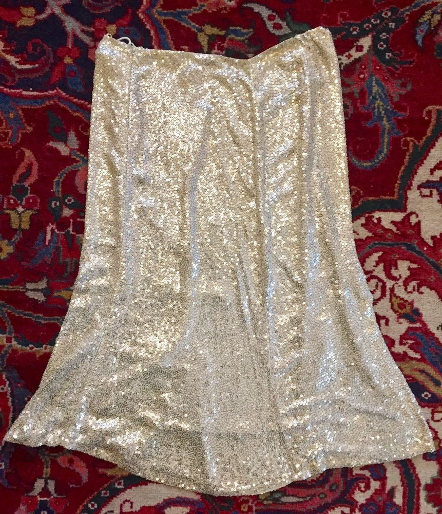 1b6eb438c97 Ralph Lauren Collection Purple Label Beautiful Silver Sequins Skirt 4   fashion  clothing  shoes