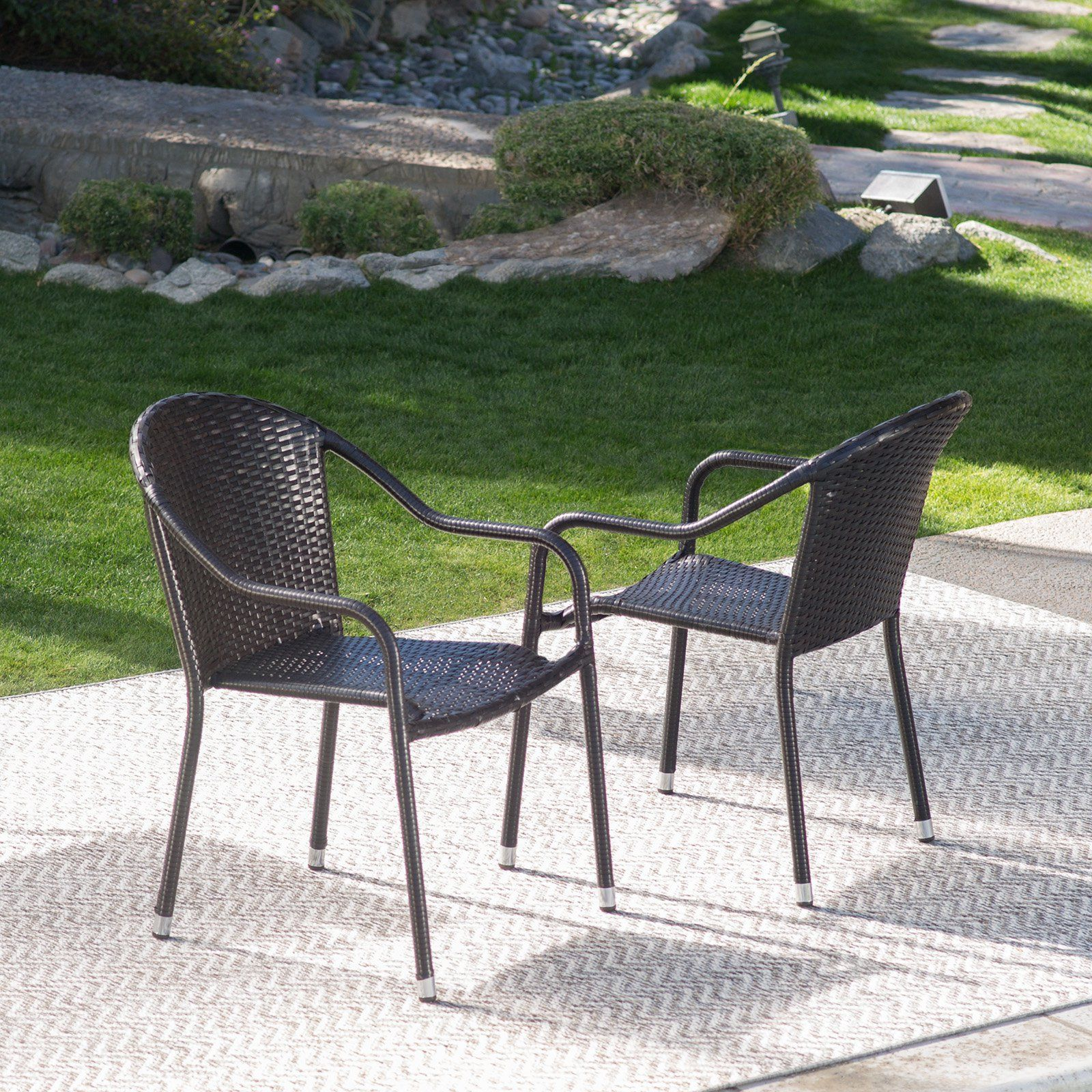 Coral Coast Berea Outdoor Wicker Stackable Chair Outdoor Wicker