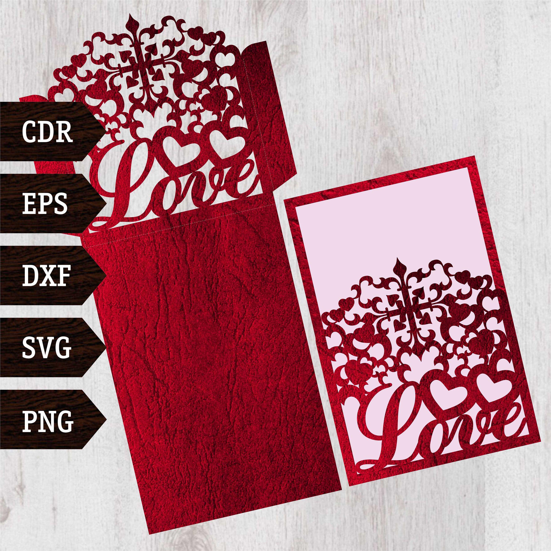 Love Lace Envelope Digital file EPS SVG DXF for wedding invitation ...