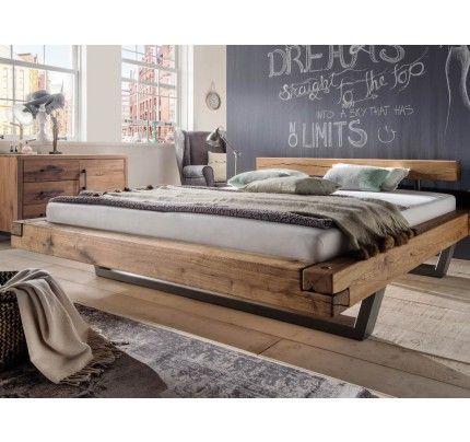 balkenbett mit stahlkufen wildeiche wohnen pinterest. Black Bedroom Furniture Sets. Home Design Ideas