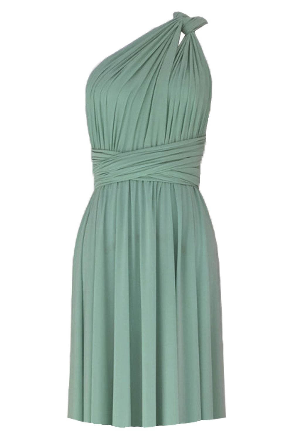 Convertible bridesmaids dress Sage green infinity knee length dress Plus size prom evening formal dress XS S M L XL 0XL 1XL 2XL 3XL 4XL 5XL #sagegreendress
