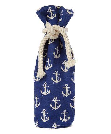 Loving this Blue & White Anchor Canvas Wine Bag on #zulily! #zulilyfinds