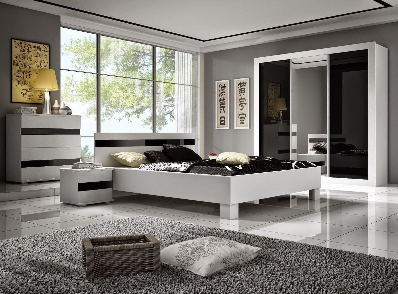 ديكورات غرف نوم بالاسود والابيض Minimalist Bedroom Furniture Furniture Bedroom Furniture Design