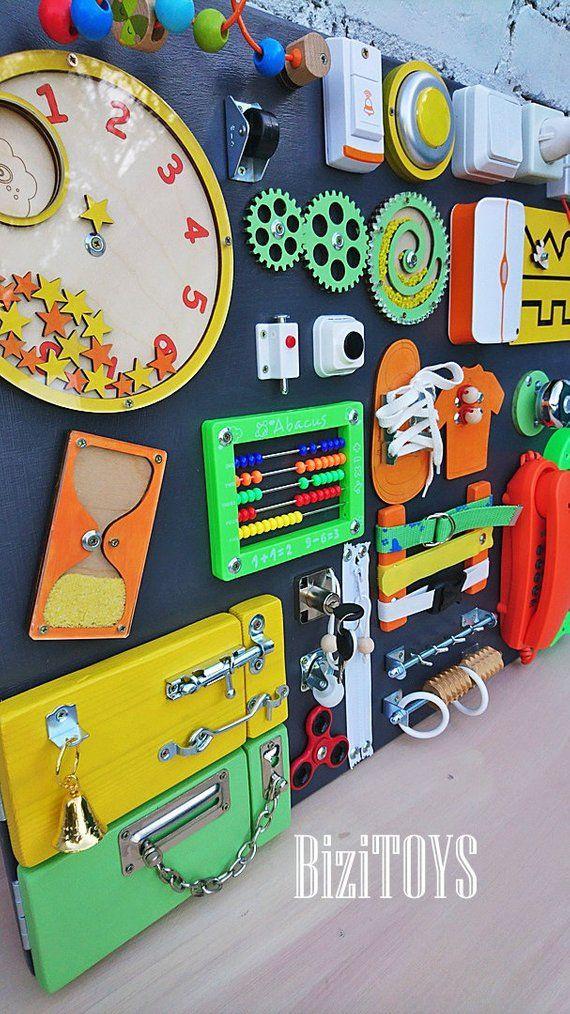 Best-seller! Conseil dactivité occupé en tout-petit pour le tout-petit Busyboard Montessori planche occupée Fidget board Sensory board Wooden toy