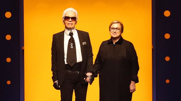 Karl Lagerfeld and Silvia Fendi at Fendi's Autumn/Winter 2016 show | Source: Indigital