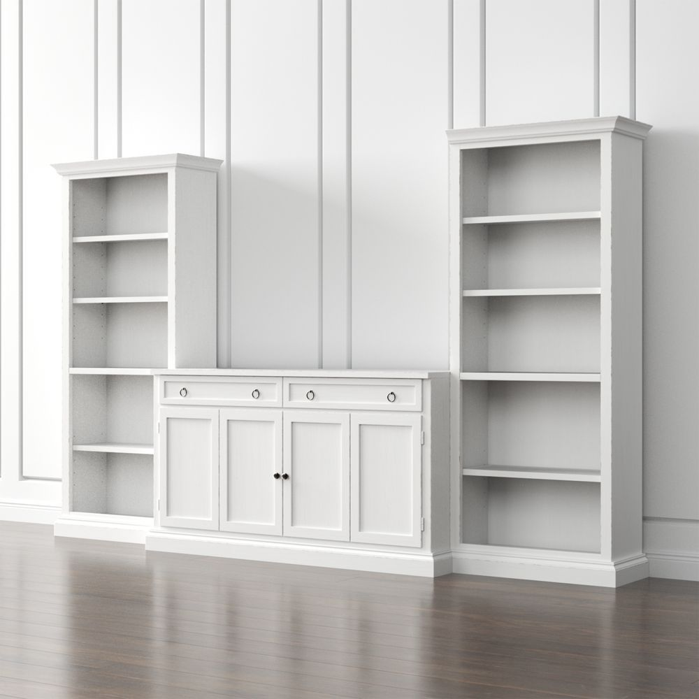 Cameo 3 piece modular white media entertainment center crate and barrel