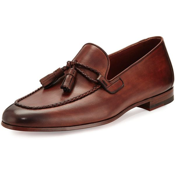 Magnanni For Neiman Marcus Leather Loafer with Woven Tassels ($425) ❤ liked on Polyvore featuring men's fashion, men's shoes, men's loafers, brown, mens woven leather slip-on shoes, mens leather slip on shoes, mens flat shoes, mens brown loafer shoes and magnanni mens shoes