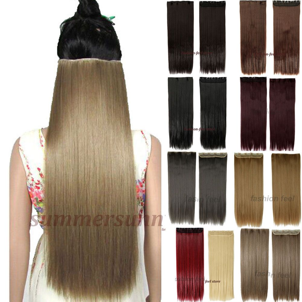 Long Clip In Hair Extensions One Piece 26 Inches 66cm Straight Black