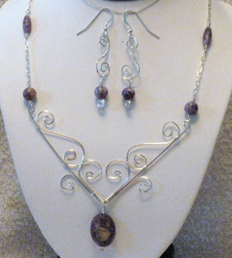 Wire wrapped necklace and earrings. Love this! (Diy Necklace Stone ...