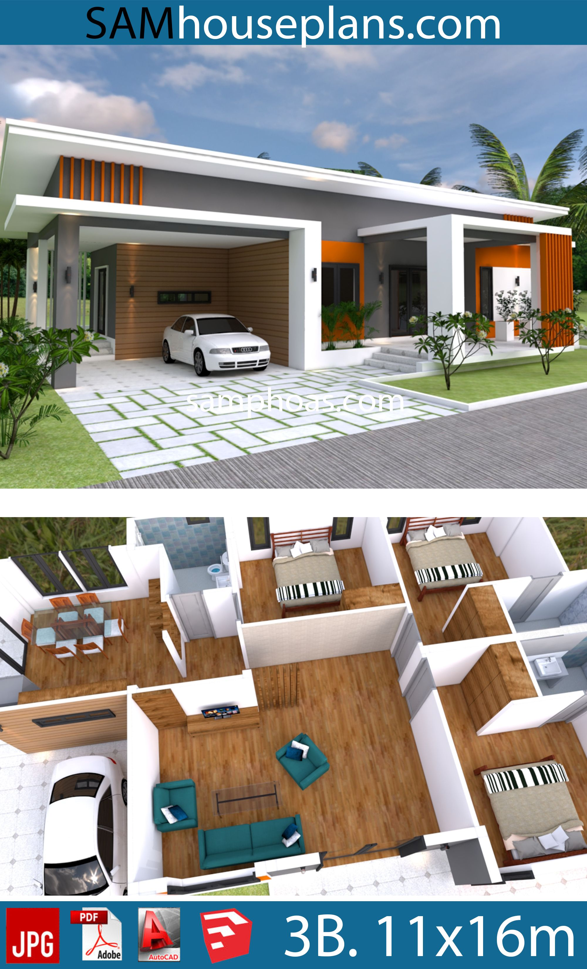 Home Plan 11x16m With 3 Bedrooms Sam House Plans Small House Design Plans House Plans Beautiful House Plans