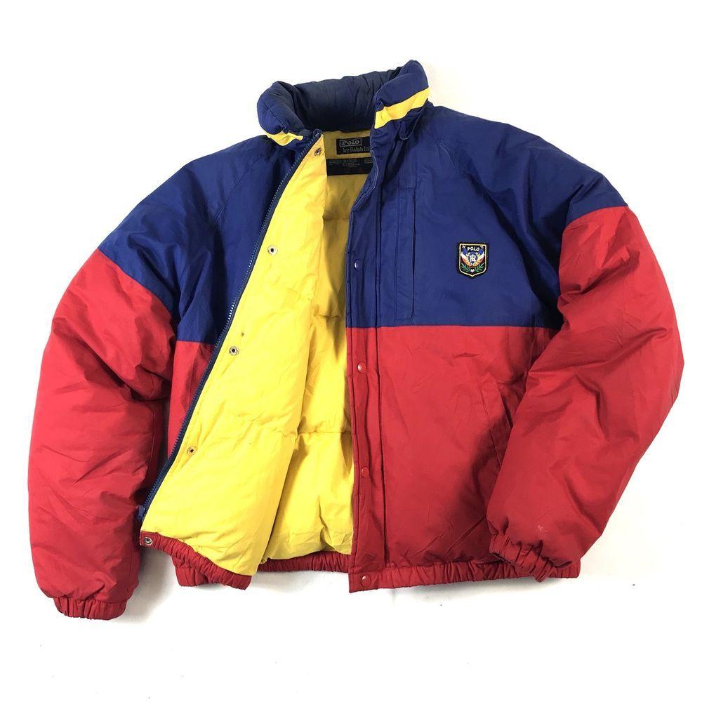 4c44020a4 Vintage 90 s POLO Ralph Lauren Uni Crest Colour Block Down Puffer Jacket