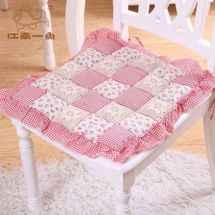 Fish Dining Chair Cushion Fabric Comfortable 100 Cotton Ruffle Hem Lace Bread Pad