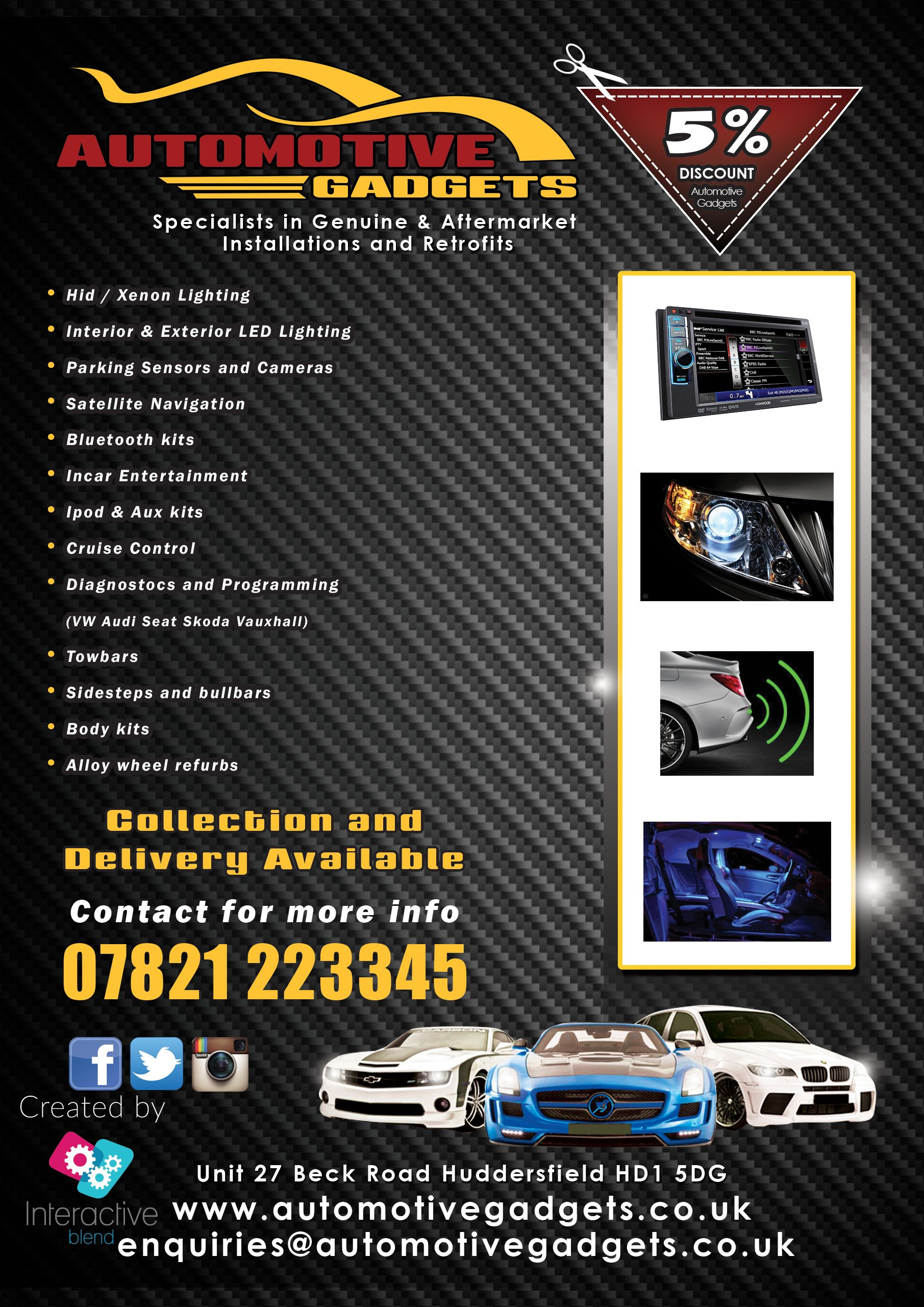 An A5 Advertisement for Car Tuning place Flyers leaflets