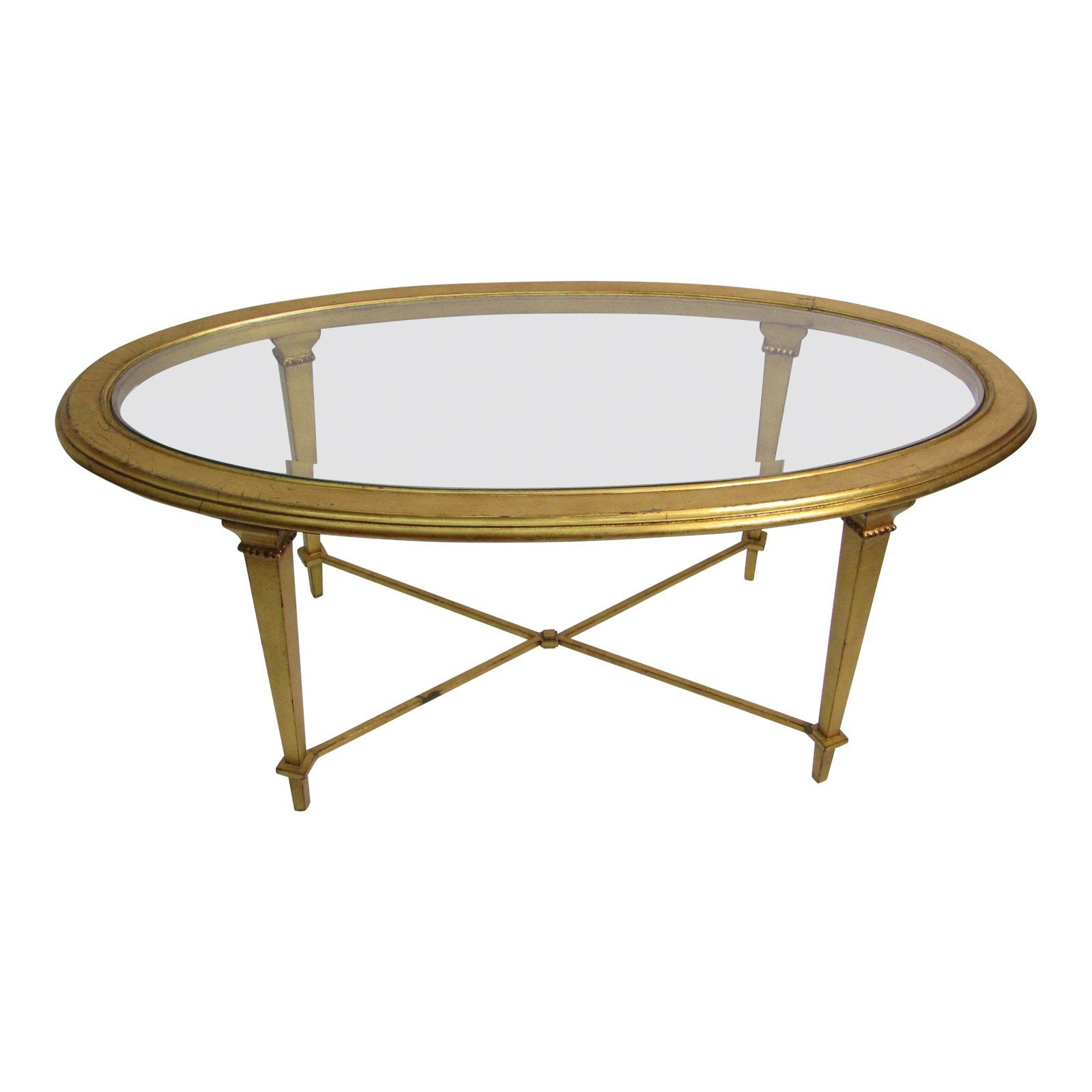 1960s Hollywood Regency Gold Oval Coffee Table