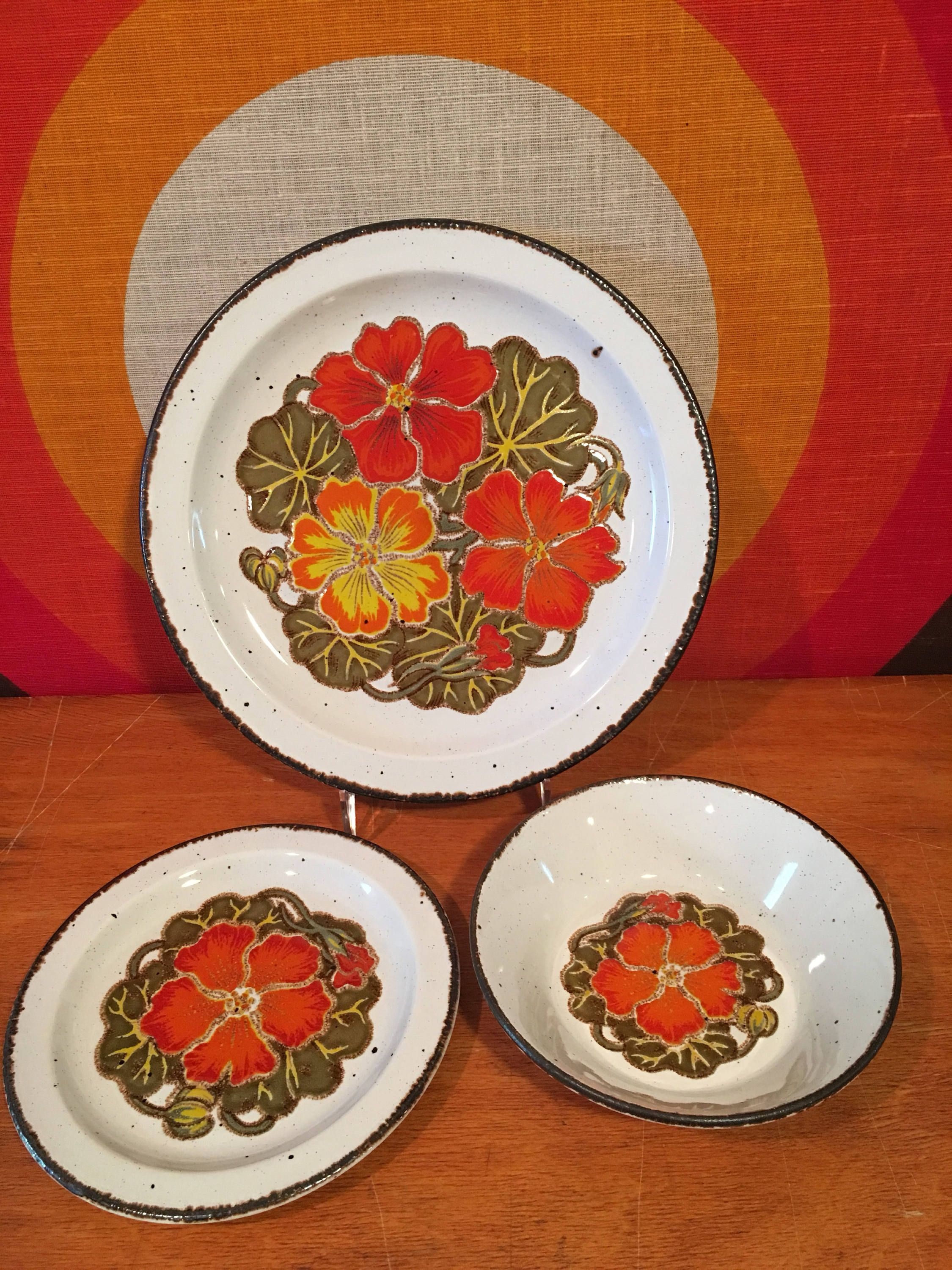 Vintage Midwinter Stonehenge Nasturtium Dinnerware Set 12 pc set Dinner Plates Salad Plates : dinner plates sets of 12 - pezcame.com