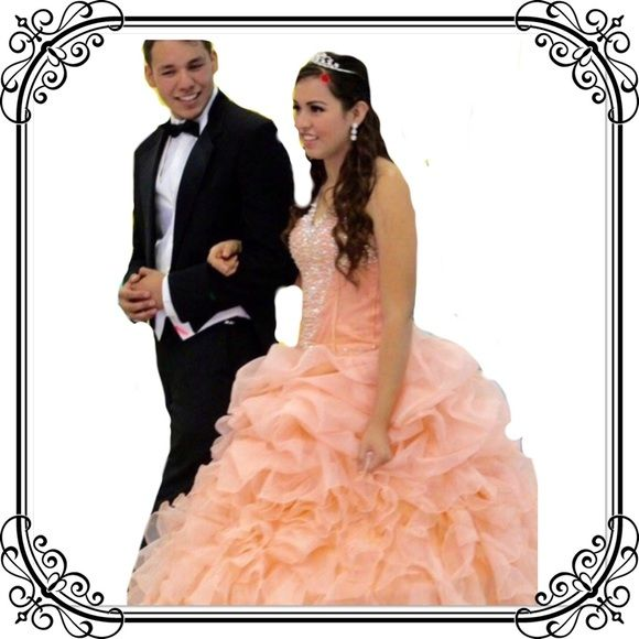 Ball gown prom Quinceanera Sweet 16 Bundle!    Take avantage, Light peach color, custom made for a size 6, but can provide measurements. This dress comes in a big size 6 and pretty sure a size 8 can also fit well. Used once for a few hrs. Will include Petti coat with a $50 value, a Dust bag with a $20 value. I also have the matching shoes that were not use. Dresses Prom