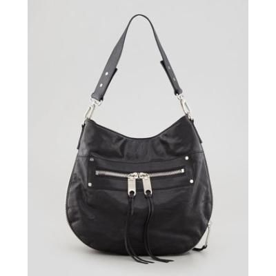Riley Zippered-Leather Bucket Bag, Black - Milly
